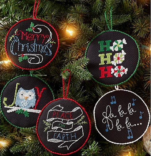 click here to view larger image of Holly Jolly Ornaments - Set of 12 (counted cross stitch kit)