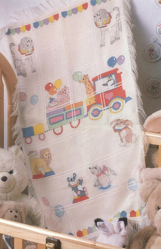click here to view larger image of Circus Train Baby Afghan (counted cross stitch kit)