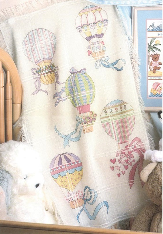 click here to view larger image of Hot Air Balloons Baby Afghan (counted cross stitch kit)