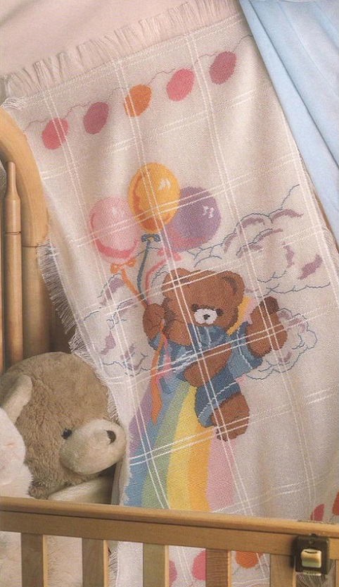 click here to view larger image of Bear & Balloons Baby Afghan (counted cross stitch kit)