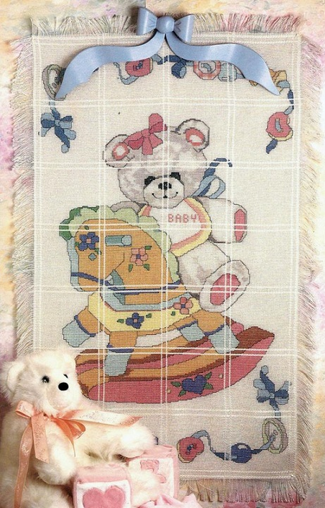 click here to view larger image of Bear on Rocking Horse Baby Afghan (counted cross stitch kit)