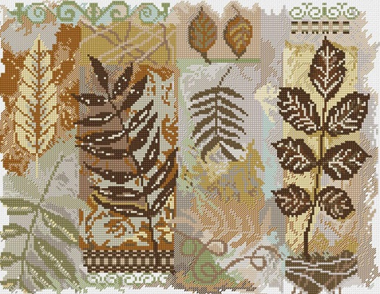 click here to view larger image of Abstractions Leaves (counted cross stitch kit)