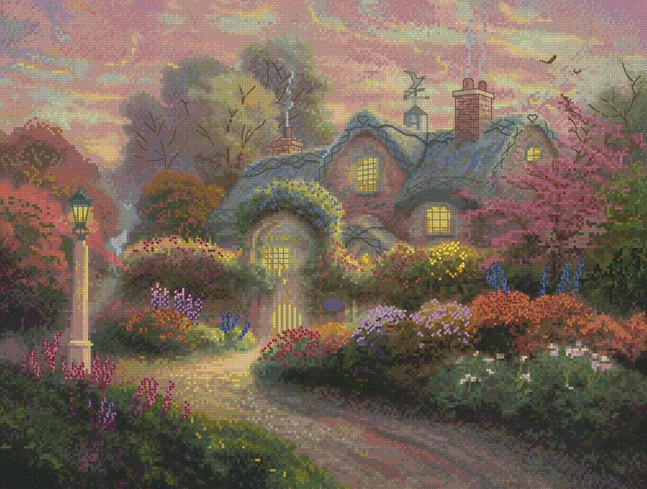 click here to view larger image of Rosebud Cottage - Thomas Kinkade (counted cross stitch kit)