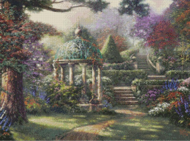 click here to view larger image of Gazebo of Prayer - Thomas Kinkade (counted cross stitch kit)
