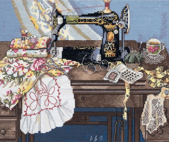 click here to view larger image of Sewing With Mama (counted cross stitch kit)