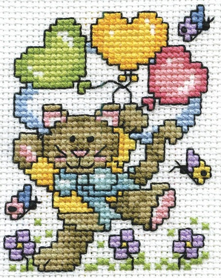 click here to view larger image of Balloon Cat (counted cross stitch kit)