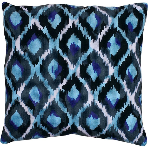 click here to view larger image of Blue Ikat (needlepoint)