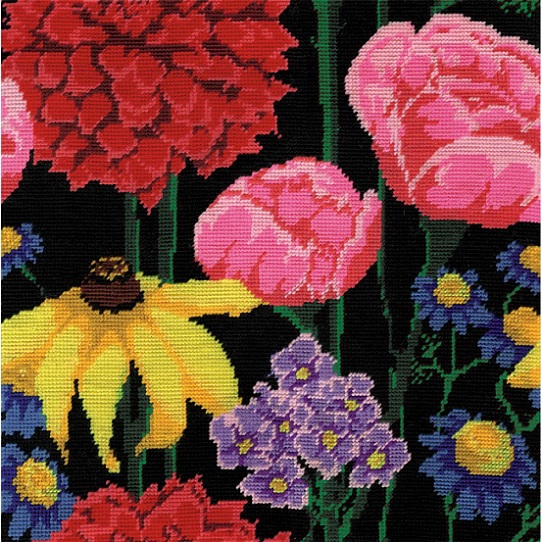 click here to view larger image of Midnight Floral (needlepoint)