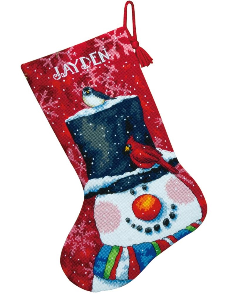 click here to view larger image of Snowman and Friends Stocking (needlepoint)
