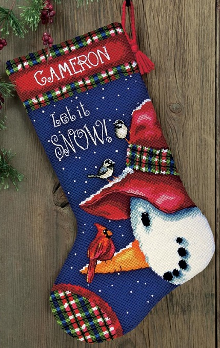 click here to view larger image of Snowman Perch Stocking (needlepoint)