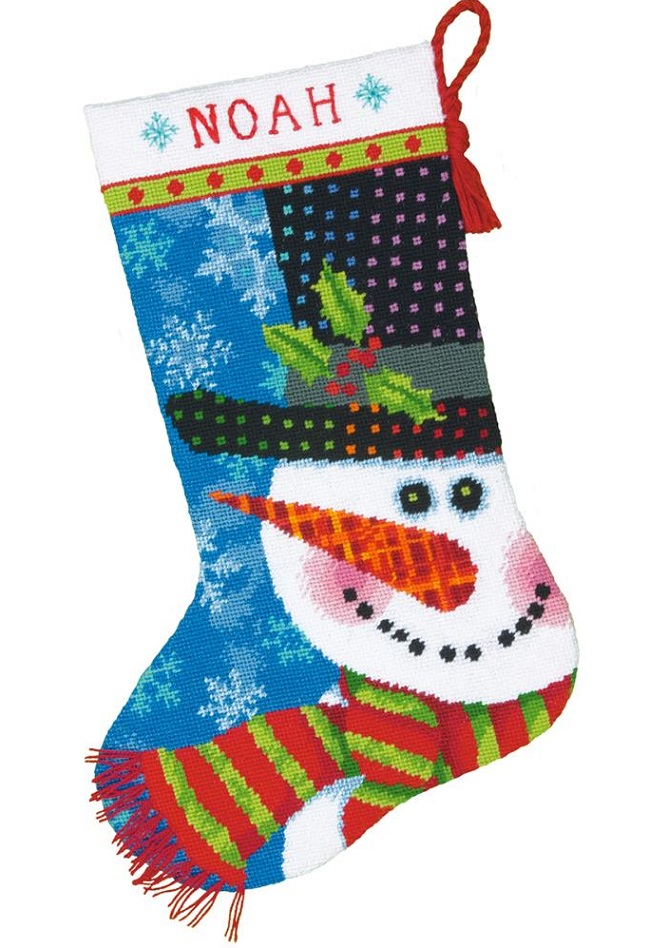 click here to view larger image of Patterned Snowman Stocking (needlepoint)