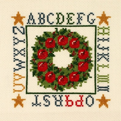 click here to view larger image of Apple Wreath Sampler (counted cross stitch kit)