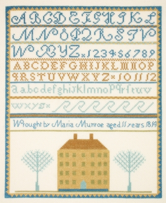 Maria Monroe Sampler - click here for more details about counted cross stitch kit
