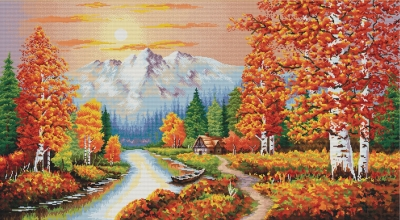 click here to view larger image of Flaming Sunset, A (stamped cross stitch kit)