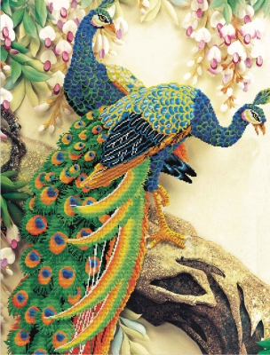 click here to view larger image of Peacock Majesty (stamped cross stitch kit)