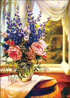 click here to view larger image of Floral Vase By The Window (stamped cross stitch kit)