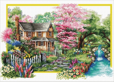 click here to view larger image of Spring Comes (stamped cross stitch kit)