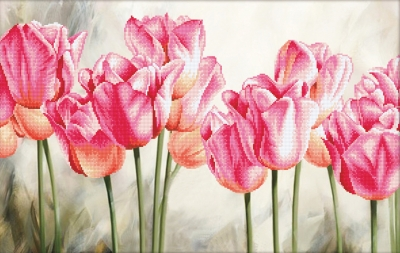 click here to view larger image of Pink Tulips (stamped cross stitch kit)