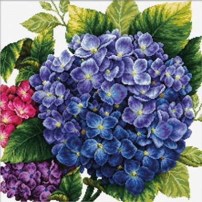 click here to view larger image of Hydrangea (stamped cross stitch kit)