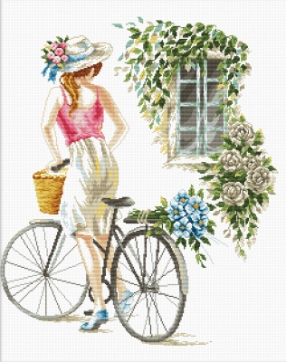 click here to view larger image of Bicycle Girl - No Count Cross Stitch (stamped cross stitch kit)
