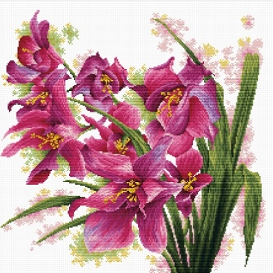 click here to view larger image of Lovely Orchids - No Count Cross Stitch (stamped cross stitch kit)