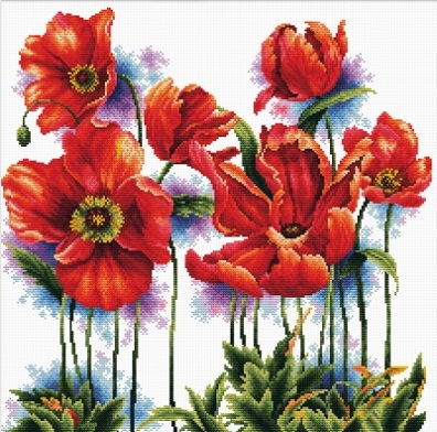 click here to view larger image of Lovely Poppies - No Count Cross Stitch (stamped cross stitch kit)