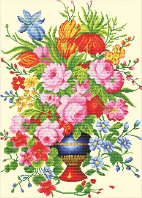 click here to view larger image of Elegant Floral Arrangement - No Count Cross Stitch (stamped cross stitch kit)