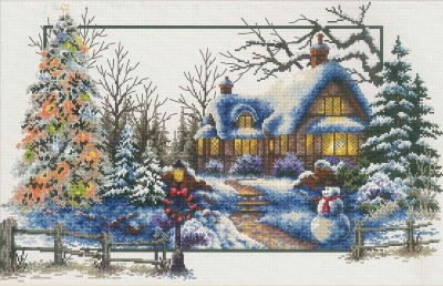 click here to view larger image of Winter Cottage - No Count Cross Stitch (stamped cross stitch kit)