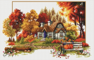 click here to view larger image of Autumn Cottage - No Count Cross Stitch (stamped cross stitch kit)