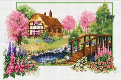 click here to view larger image of Spring Cottage - No Count Cross Stitch (stamped cross stitch kit)