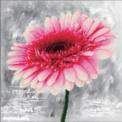click here to view larger image of Pink Dahlia - No Count Cross Stitch (stamped cross stitch kit)