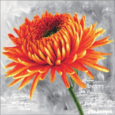 click here to view larger image of Orange Dahlia - No Count Cross Stitch (stamped cross stitch kit)
