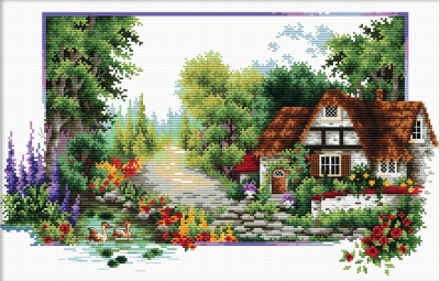 click here to view larger image of English Cottage Stream - No Count Cross Stitch (stamped cross stitch kit)