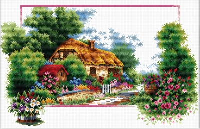 click here to view larger image of English Cottage Lane - No Count Cross Stitch (stamped cross stitch kit)