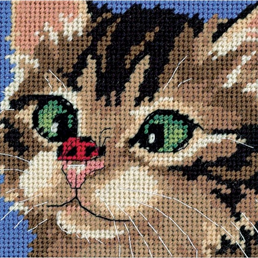 click here to view larger image of Cross-Eyed Kitty (needlepoint)