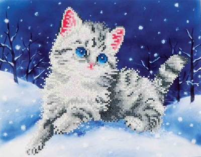 click here to view larger image of Kitten In The Snow (Diamond Embroidery)
