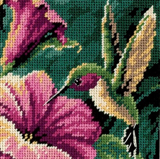 click here to view larger image of Hummingbird Drama (needlepoint)