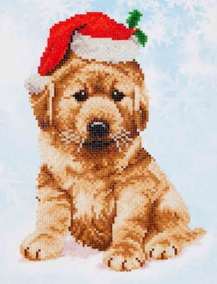 click here to view larger image of Christmas Lab (Diamond Embroidery)
