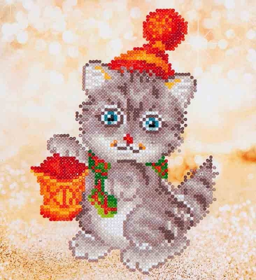 click here to view larger image of Christmas Kitten Glow (Diamond Embroidery)