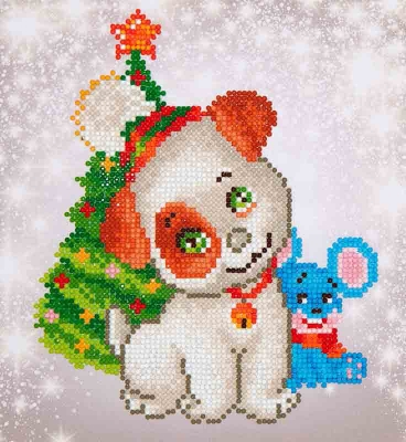 click here to view larger image of Christmas Pup and Mouse (Diamond Embroidery)