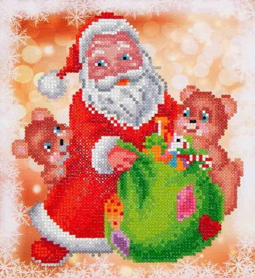 click here to view larger image of Santa and Teddies (Diamond Embroidery)