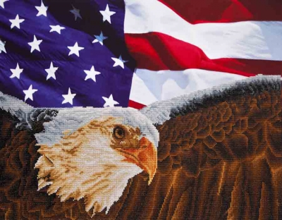 click here to view larger image of Bald Eagle And Flag (Diamond Embroidery)