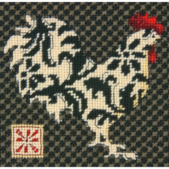 click here to view larger image of Black and White Rooster (needlepoint)