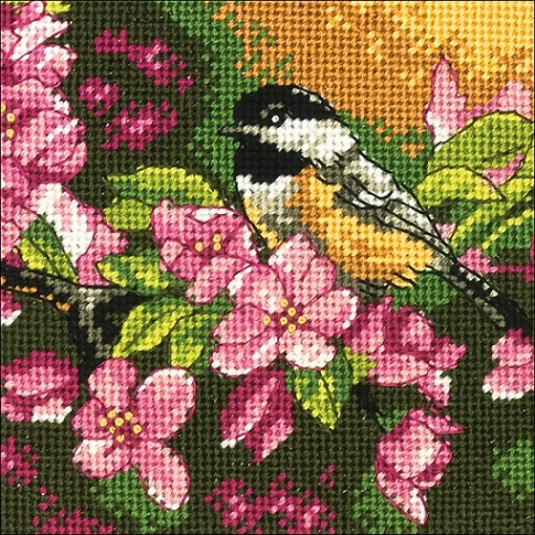 Chickadee in Pink - click here for more details about needlepoint