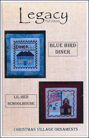 click here to view larger image of Christmas Village Ornaments - Blue Bird Diner/Lil Red Schoolhouse (chart)
