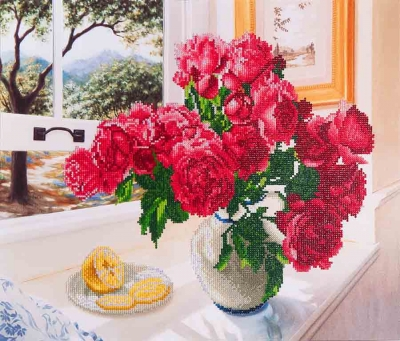 click here to view larger image of Roses By Window (Diamond Embroidery)