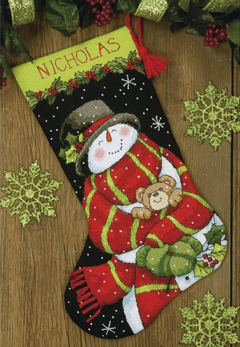 click here to view larger image of Snowman and Bear Stocking (needlepoint)