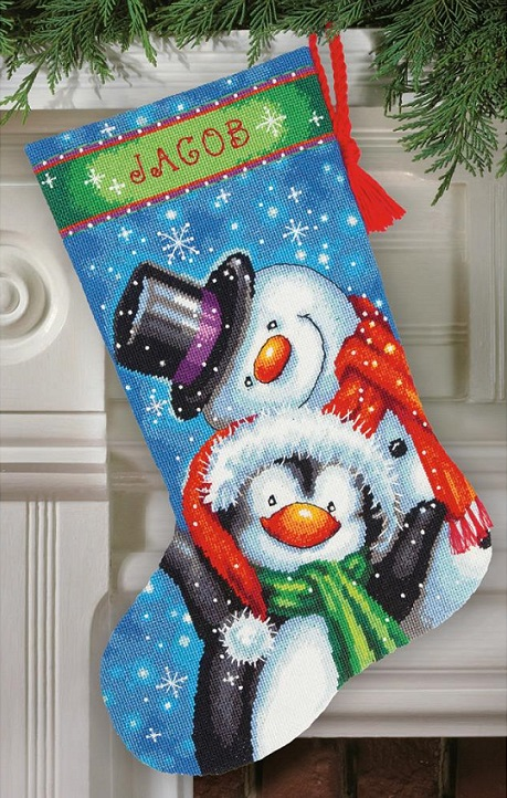 click here to view larger image of Polar Pals Stocking (needlepoint)