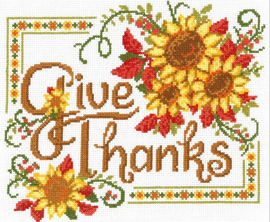 click here to view larger image of Give Thanks Sunflowers - Kit (counted cross stitch kit)