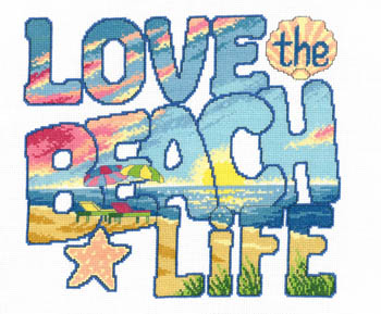 click here to view larger image of Love The Beach Life - Kit (counted cross stitch kit)